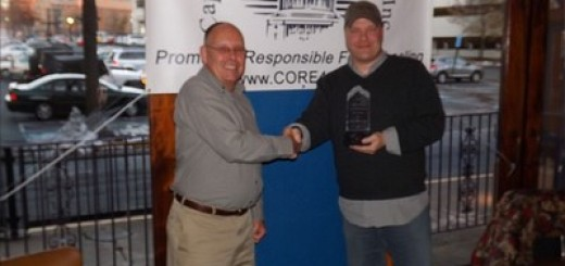 Larry Pope, President MAFWDA, presents Robert Rixham, CORE Member at Large, with the 2013 MAFWDA Club of the Year Award
